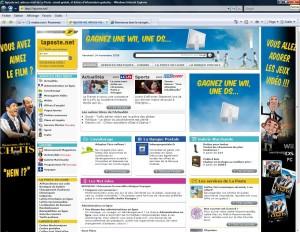 La campagne sur le site de La Poste.net, le 14 novembre 2008