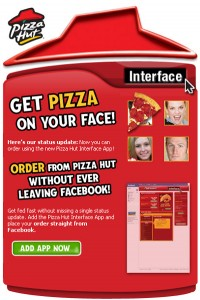Widget Pizza Hut sur FaceBook