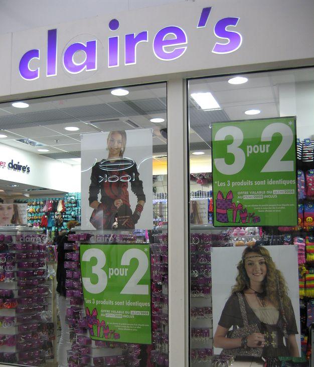 Les promotions dans le secteur du textile : l'offre 3 pour 2. Claire's