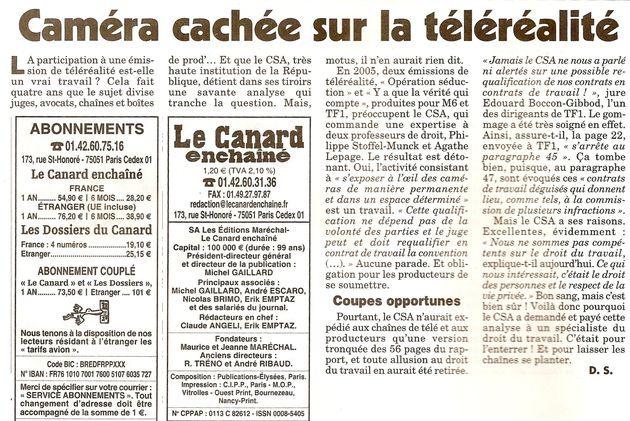 (c) Le Canard Enchainé, 29 avril 2009