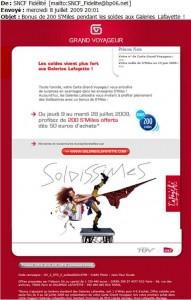 Carte Grand voyageurs Galeries Lafayette programme de fidélité cross selling