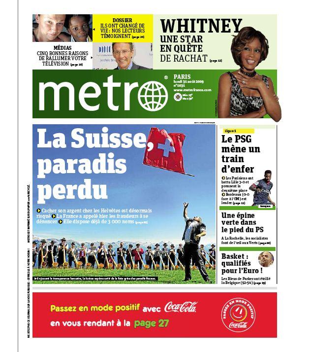 Metro accélère dans le noir tunnel publicitaire. Presse quotidienne gratuite, PQG