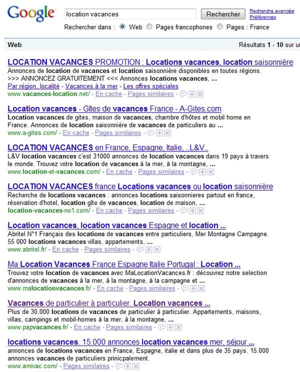 Résultats location vacances sur Google