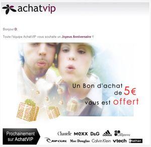 Emailing anniversaire AchatVIP
