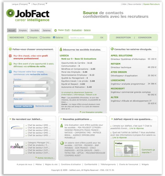 JobFact, plateforme online qui propose aux salariés de partager anonymement leurs salaires et d'évaluer leur entreprise