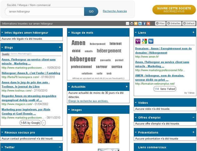 Corporama regroupe et recoupe, agrège toute l'info web d'une société en temps réel, lui permettant de  contrôler son e-réputation, son empreinte numérique et de s'informer sur les acteurs de son marché (concurrents, prospects, clients, fournisseurs, partenaires...).