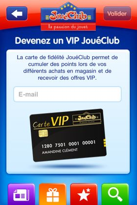 Application iPhone JOuéClub : obtenir la carte de fidélité
