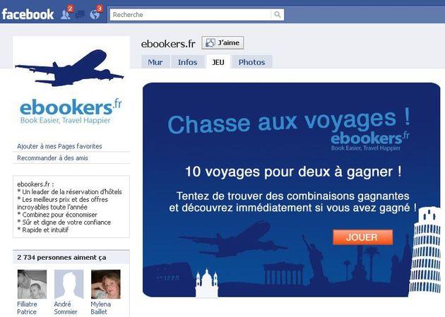 L'agence de voyages en ligne ebookers a lancé une Chasse aux voyages sur Facebook en collaboration avec l'agence PlayApp, complétée par une campagne d'achat média.
