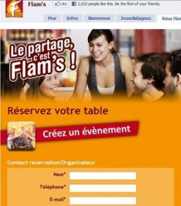L agence Care a créé pour Flam's, chaîne de restaurants, sa page fan Facebook ainsi que des applications personnalisées et vraiment originales.