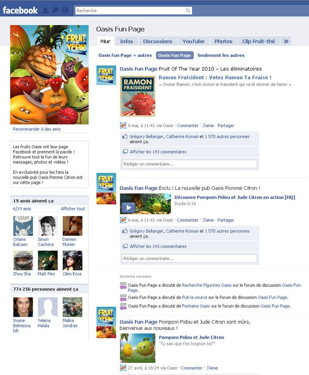 "Oasis organise l'élection la plus fruitée de l'année : ""Fruit of the Year 2010"" sur Facebook"