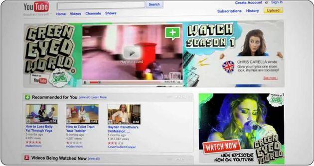 bannière interactive Sprite, OP Green Eyed World sur Youtube