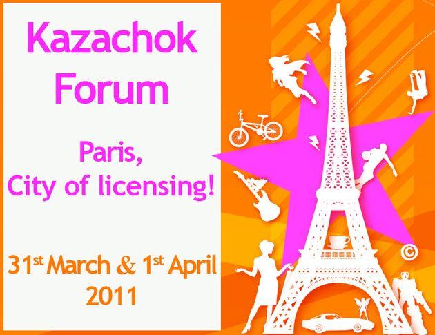 Organisé les 31 mars et 1er avril à la Halle Freyssinet (Paris 13e), le Kazachok Licensing Forum rassemble l'ensemble des professionnels du secteur venus du monde entier : fabricants, acheteurs de la distribution, agents et ayant-droits, professionnels du marketing, de la promotion, représentants des chaînes de télévision...