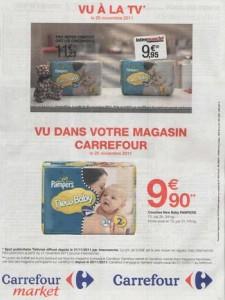 En reprenant sur une annonce presse, un visuel du spot TV d'Intermarché qui met en avant son avantage prix sur les autres enseignes et sur des grandes marques nationales, Carrefour veut pendre sa place dans la guerre des prix. L'objectif : apparaitre comme l'enseigne la moins chère.