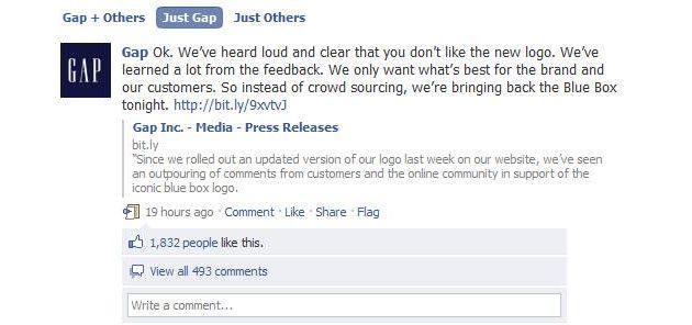 Le déchaînement de la communauté sur la page Facebook de la marque est tel qu'il contraint Gap à bloquer l'accès à son mur jusqu'à la restauration du logo originel.