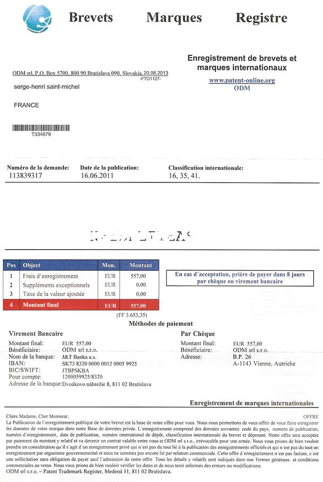 Enregistrement de marque : 557 € à payer en Slovaquie. Arnaque ? Escroquerie ?