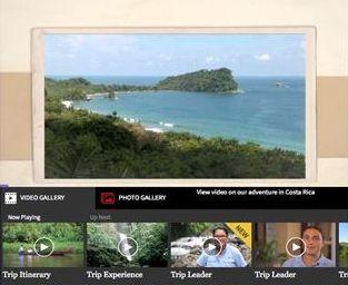 Exemple du Costa Rica, avec l'onglet « Video Gallery » qui propose plusieurs séquences vidéo  aux thématiques différentes