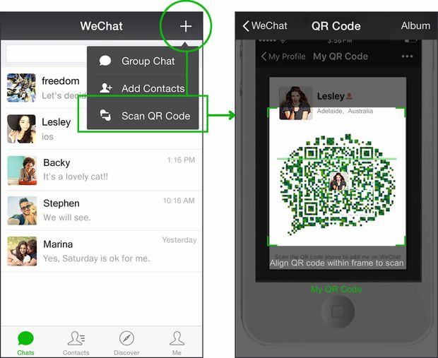 Le fait d'être étranger dans un pays facilite le contact : quelques mots plus tard, le WeChat est mutuellement ajouté