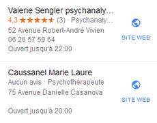 Google confond psychanalyste et psychotherapeute