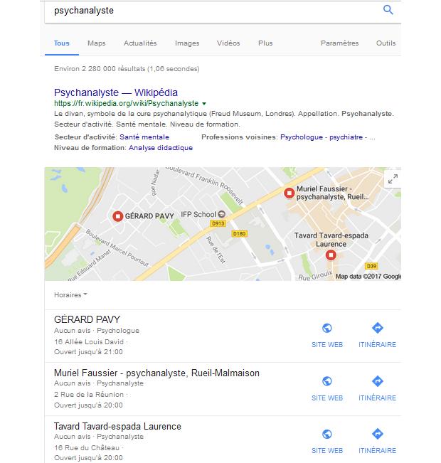 Google confond les termes psychologue et psychanalyste