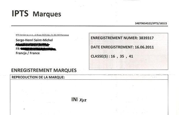 Belle arnaque que celle consistant à demander, dans un français de latrines, 870€ pour enregistrer une marque déjà déposée...